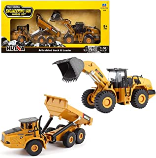 Geminismart 1/50 Scale Die-cast Articulated Dump Truck Loader Engineering Vehicle Construction Toys for Kids and Decoration House (Dump Truck&Loader Gift Box)