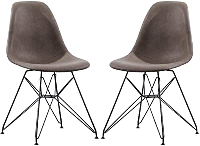 Chair 2 Pieces PU Leather Dining Shell Chair with Black Steel Eiffel Legs, for for Living Room Bedroom Kitchen Lounge (Color : Dark Grey)