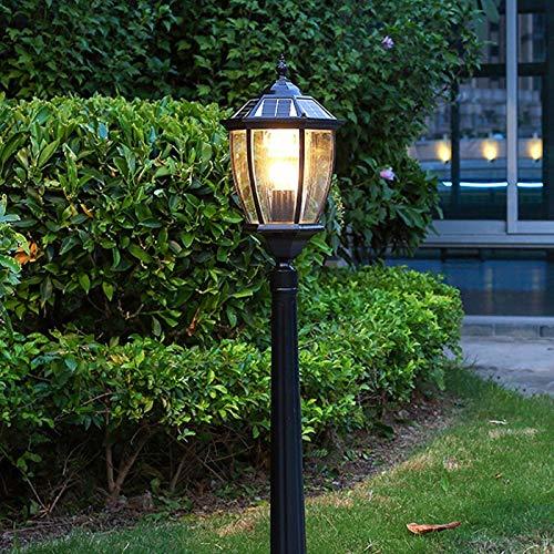 HLDJ Solar Energy Wien Garten-Licht LED Landschaft Straßenlaterne Wasserdichtes Rasen Beleuchtung Retro Außen Pfosten-Lampen-Pole Gemeinschaft Außen Gras Licht (Color : Schwarz, Size : 1.4m)