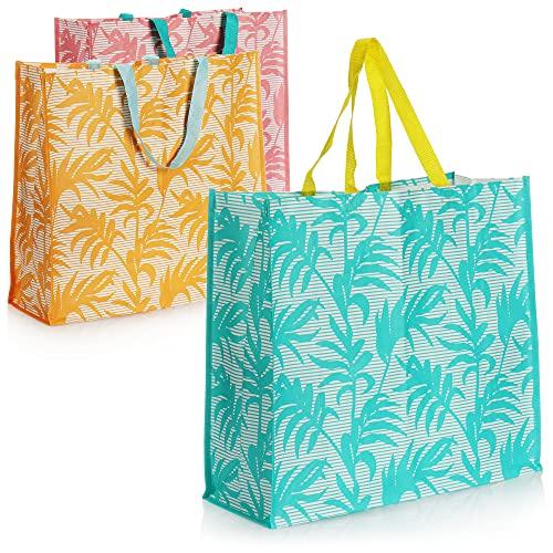 com-four® 3X Bolsa de Playa Grande - Bolso de señora para Compras - Bolsa de Piscina para Utensilios de Playa - Bolsa de Hombro para Playa, Piscina, Vacaciones (Rosa/Naranja/Turquesa)