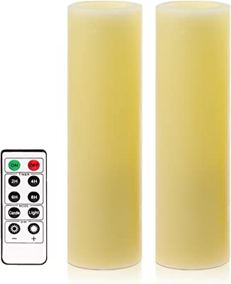 simplux Battery Powered Flameless Votive LED Pillar Candle (Pack of 2), 2 x 6, Ivory