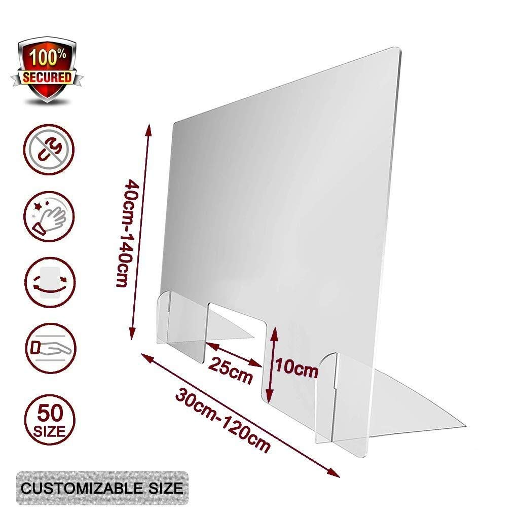 LHFSM Pantalla Protección Mostrador,Mampara Protectora en Metacrilato,for los empleadores, Trabajadores y Clientes, Barrera contra la Tos y los estornudos (Size : 50x75cm): Amazon.es: Hogar