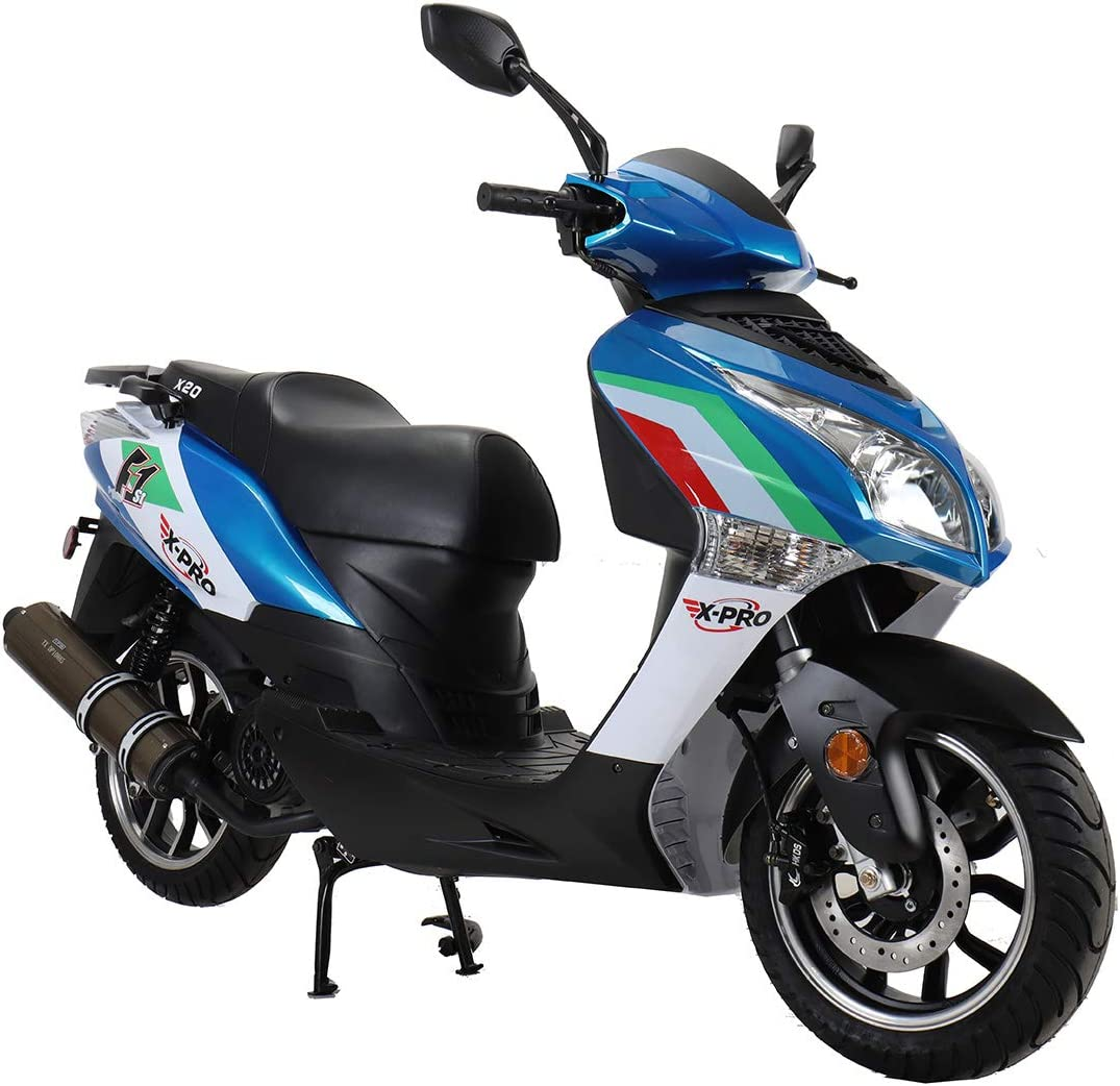 X-PRO X20 150CC Moped Scooter Street Scooter Gas Moped 150cc Adult Scooter Bike with 13 Aluminum Wheels! Blue