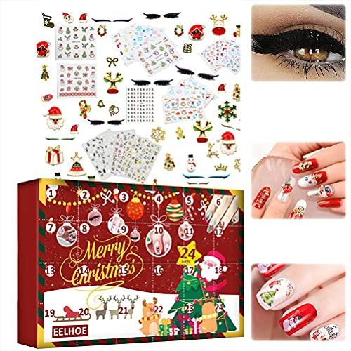 CZSMART Adventskalender 2021, Beauty Mystery Box, Make Up Wimpern Aufkleber, Weihnachts Countdown Kalender 24 Tage Nail Art Sticker, Weihnachts Schmuck Überraschungsbox Party Favors