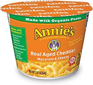 Annie's Real Aged Cheddar Microwavable Macaroni & Cheese, 12 Cups, 2.01oz (Pack of 12)