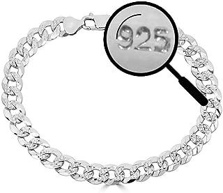 """Harlembling Men's Cuban Link Bracelet Solid 925 Sterling Silver Bracelet - 8.5"""" 8mm - Diamond Cut Pave"""