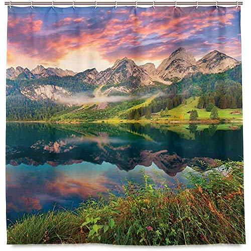 RP Amazing Duschvorhänge,Sommer Sonnenaufgang Am Vorderer Gosausee In Der Österreichischen Alp Mountains Bad Vorhänge 168X183Cm
