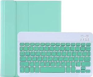 Lrufodya iPad Keyboard Case for iPad Mini 1 2 3 4 5 with Detachable Keyboard and Pen Holder, Slim Smart Auto Sleep/Wake Cover Case (Mint)