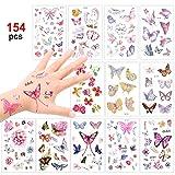 Konsait Schmetterling Tattoo Set 150 Kinder Tattoos Aufkleber für Mädchen Kinder Spielen Mitgebsel Kindergeburtstag Gastgeschenke Taschen Füller -