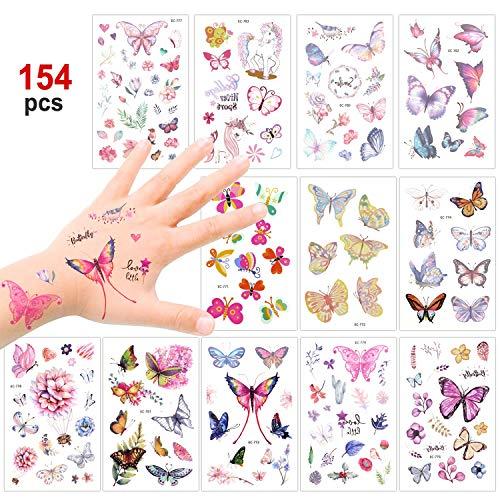 Konsait 100+ Mariposas Tatuajes temporales Falso Tatuajes Pegatinas para niñas niños Fiestas Infantiles cumpleaños de niños Regalo piñata, Unicornio Mariposa Flor
