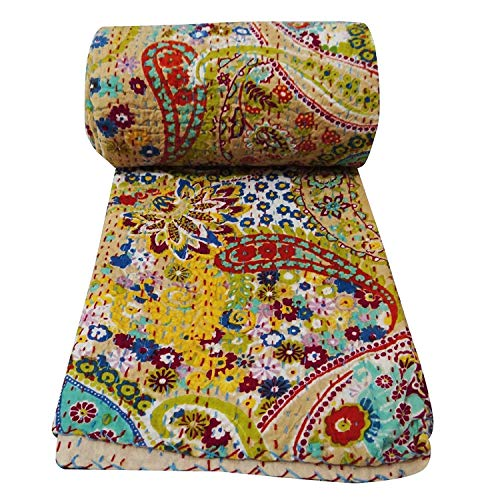 Sophia-Art King/Twin Size Indian Handmade Paisley Print Kantha Quilt Cotton Kantha Blanket Bed Cover Sofa Cover Kantha Bedspread Bohemian Bedding (Beige2, Twin 6090 Inches)