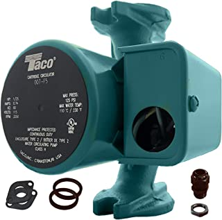 Taco 007-F5 Cast Iron Circulator, 1/25 HP Pump with Universal Pump Flange Gaskets and Wire Gland