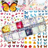 Holographic Butterfly Glitter Nail Art Sequins Iridescent Flakes Glitter Case 3D Stickers Colorful Thin Confetti Manicure Nail Art Supplies Decals Decoration Glitter
