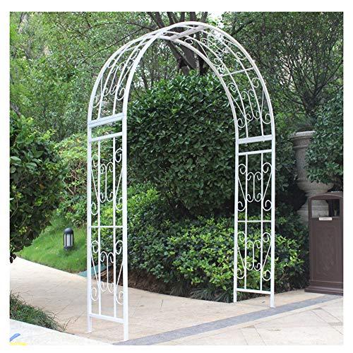 HZW Metal Garden Arch Garden Green Plant Climbing Frame Outdoor Pergola Garden Backyard Lawn Patio Wedding Bridal Party Decoration Wide Arbor,White,180x40x240cm