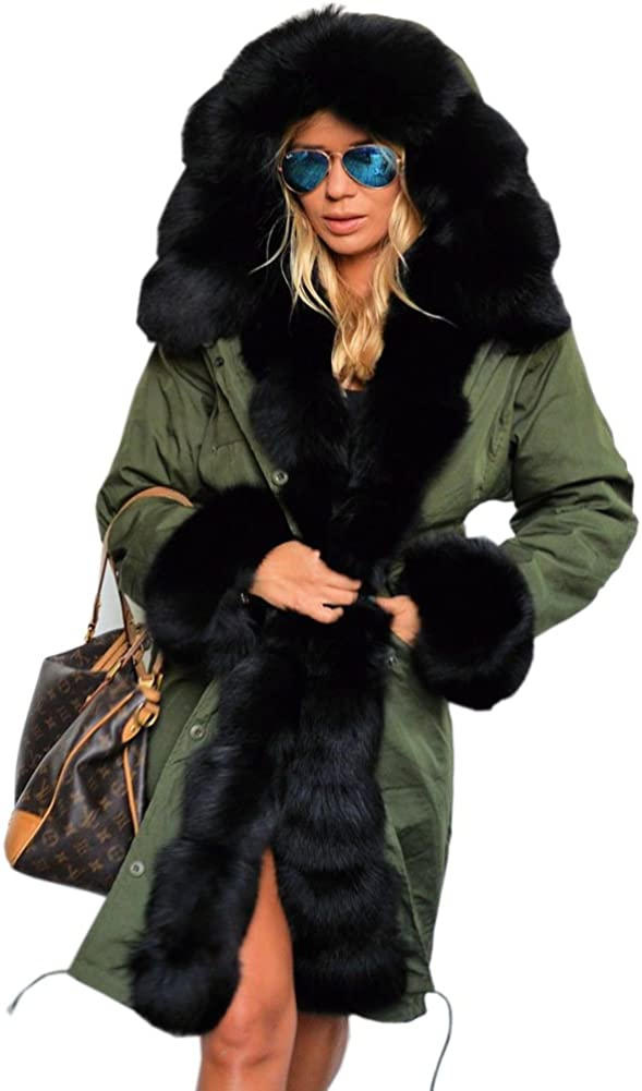 Aox Women Fashion Winter Coat with Fur Ca Faux Hood Thicken sold out Warm free