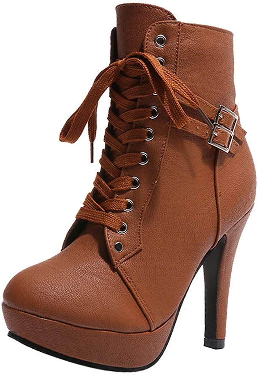 Stiletto Heeled Boots, Fashion Women Ankle Lace-up Round Toe Leather shoes