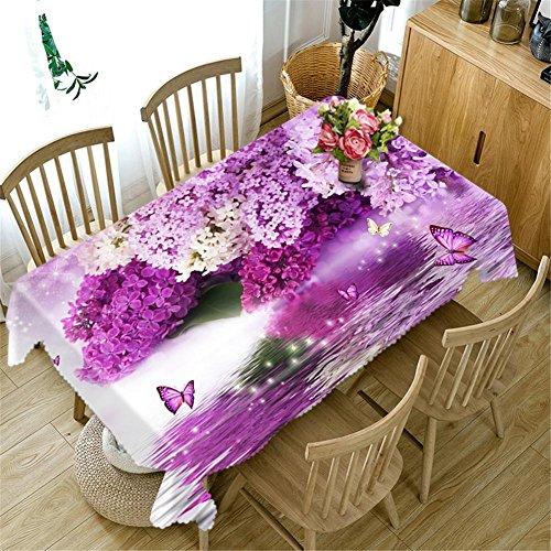 Nappe 3D Purple rose fleurs Impression Rectangulaire Anti-poussière Décoration Table Top Cover , 3 , a