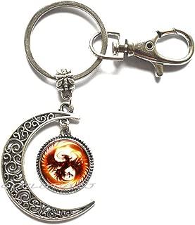 Moon keychainPhoenix Moon Keychain Phoenix Key Ring Phoenix Gift Fantasy Moon Keychain Phoenix Bird Fire Key Ring Bird Moon Keychain Phoenix Jewelry,ot395 (A1)