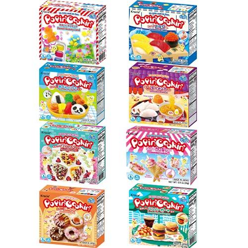 Kracie Popin Cookin DIY Candy Making Kit Mutliple Packs Tanoshii Bento, Ramen and Waffle, Cakes, Sushi and Donuts, Hamburger, and Kawaii Gummy Land (Pack of 8)