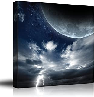 wall26 - Full Moon Up on The Clouds as Lightning Strikes - Canvas Art Home Decor - 24x24 inches