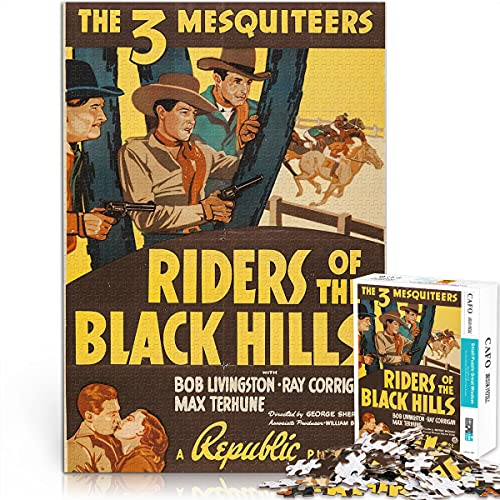 YLAXX Puzzle para Adolescentes 1000 Piezas Riders of The Black Hills 1000 Piezas póster Rompecabezas Juegos educativos Hecho a Mano Juego de Bricolaje Rompecabezas 75x50cm