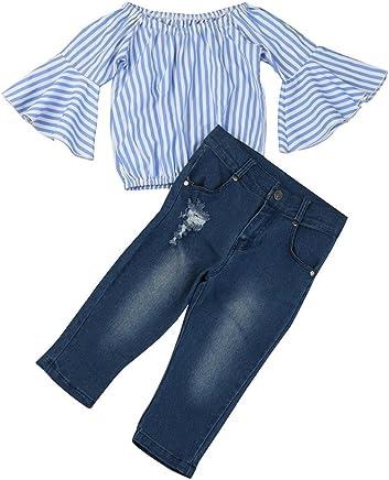 2c9f7f54ebc Woaills Off Shoulder Stripe T Shirt Top Jeans Pants Outfit Cotton Clothes  Set