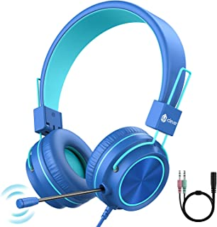 iClever HS21 Kids Headphones with Microphone for Virtual School- Rotatable Extendable Mic - 94 dB Volume-Safe Headphones f...
