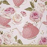 ABAKUHAUS Floral Tela por Metro, Estilo Vintage Tazas de Té Rosas Diseño Romántico Shabby Chic Estampa, Microfibra Decorativa para Artes y Manualidades, 3M (230x300cm), Verde Hoja