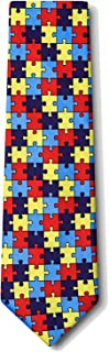 Autism Awareness Puzzle Multicolor Microfiber Tie