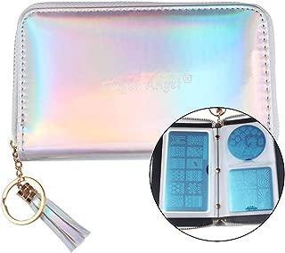 FingerAngel 24Slots Nail Stamping Plate Holder Shimmer Laser Rainbow Siliver Color Case Bag Round Square Rectangle Stamp Plate Organizer