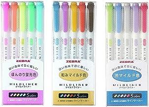 Zebra Mildliner Double-Sided Highlighter 15 Color Set, Fine / Bold, Mild & Fluorescent Color, Deep & Warm Color, Cool & Re...