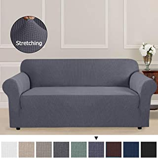 1 Piece Sofa Covers Slipcovers for Furniture Sofa, Gray Spandex Slipcover/Lounge Cover, Stretch Anti-Wrinkle Slip Resistant Form Fit Slipcover 3 Seater Sofa Cover Gray