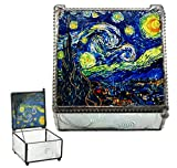"""Ebros Vincent Van Gogh Starry Night Stained Art Glass Decorative Box With Metal Frame 4""""X4"""" Museum of Modern Art Trinket Jewelry Box Post Impressionist Art Saint Remy De Provence Window View"""