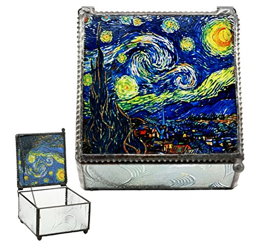Ebros Vincent Van Gogh Starry Night Stained Art Glass Decorative Box With Metal Frame 4'X4' Museum of Modern Art Trinket Jewelry Box Post Impressionist Art Saint Remy De Provence Window View
