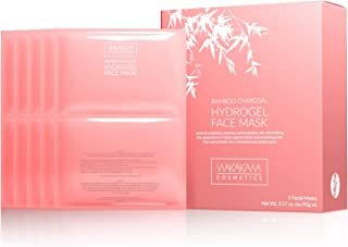 Luxury Hydrogel Facial Masks X 5, Skin Cell Recovery, Wrinkle Reduction, Improved Texture & Tone in One Application. Collagen & Hyaluronic Acid. Bamboo Charcoal Intensive Hydration System by Wakakawa