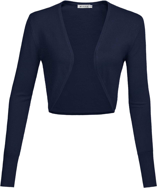 MUXXN Women's Bolero Shrug Longsleeve Knit Cardigan
