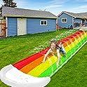 iGeeKid 14Ft Lawn Water Slides Rainbow Water Slip for Kids Summer Outdoor Water Toys Slide Play