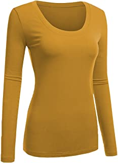c4bfa6db38a Emmalise Women s Plain Basic Cotton Spandex Scoop Neck Long Sleeve T Shirt