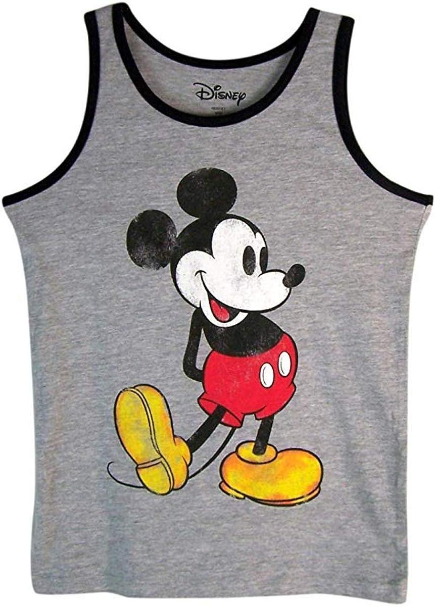 Disney Boys Gray and Black Nostalgia Mickey Mouse Tank Top Shirt (XS)