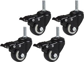 Wielen Set van 4 zwarte zwenkwielen met rem en kogellagers Meubelwiel 50 mm diameter Dragende 25 kg bewegende wielen voor ...
