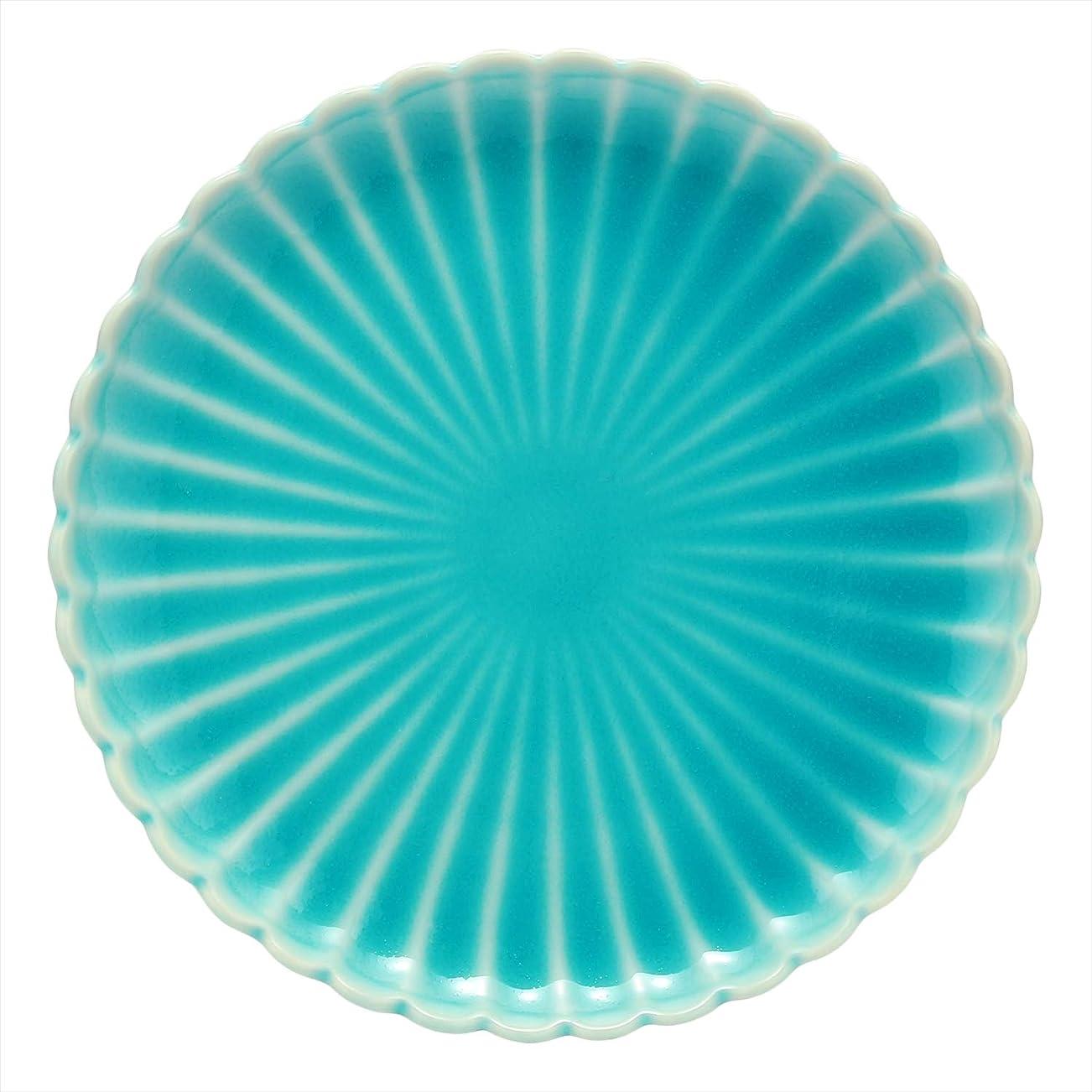 ホバーアッパー弱点日上質器 中皿 青 17cm 波佐見焼 鎬 (しのぎ) 和皿 青磁 30708