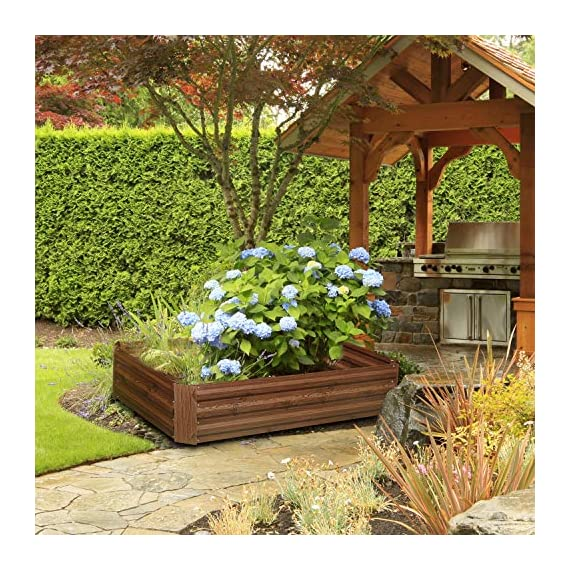 """Outdoor 2x2 ft metal raised garden bed patio frame planters box for vegetables/flower/ 1 size:47. 24""""(l)x47. 24""""(w)x11. 81""""(h) easy to assemble the garden bed with anti-rust coating is made of galvanized steel last long time"""