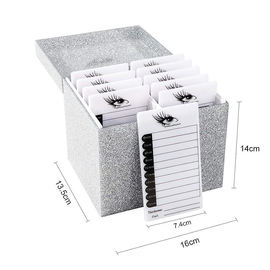 怠な動脈神聖10層まつげ収納ボックスアクリル化粧ディスプレイケースまつげコンテナのりパドルホルダーグラフトまつげエクステンションボックス,Silver