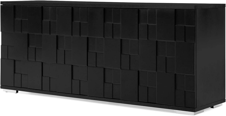 Zuri Furniture Modern Velasca Sideboard Max 70% OFF Black Veneer Attention brand and Oak in