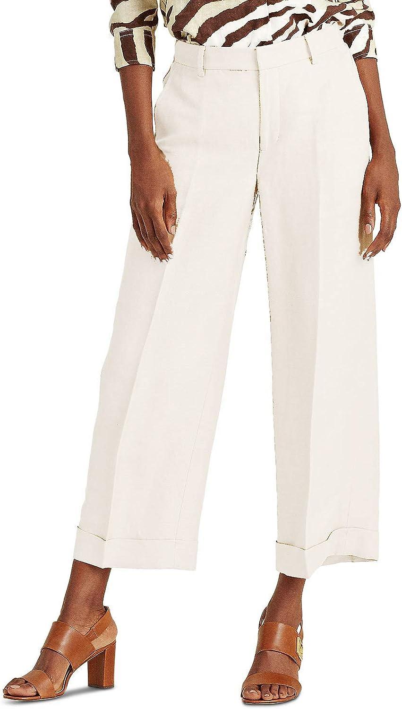 LAUREN RALPH LAUREN Women's Larabeth Wide Leg Pants, Winter Cream (10)