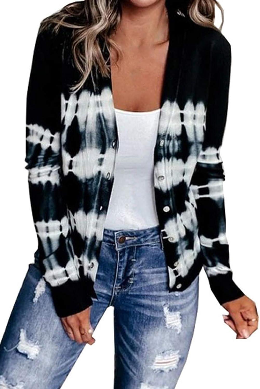 Women's Tie Dye Colorblock Buttoned Cardigans Long Sleeve Open Front Knit Sweater Coat Blouses Tops