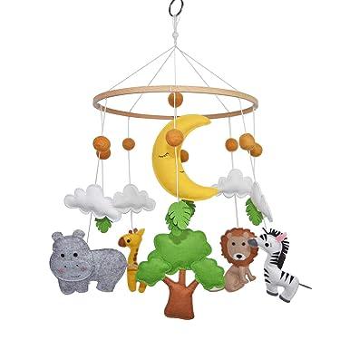 C&K WORKS Baby Nursery Mobile Soft Jungle Safari Zoo Animals