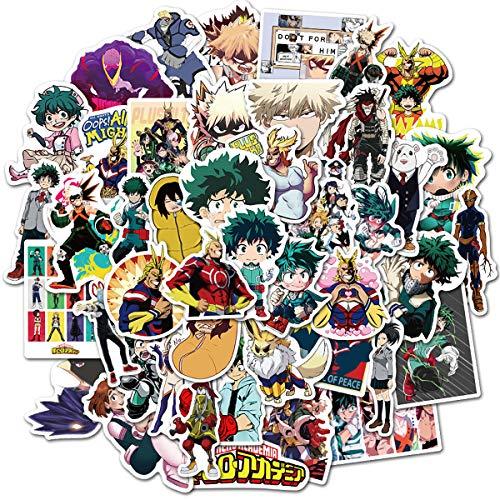 My Hero Academia Anime Stickers Pack of 50 for Laptop Hydro Flasks,Laptops,Computers, car,Water Bottles,scrapbooks,Waterproof Durable 100% Vinyl(My Hero Academia)