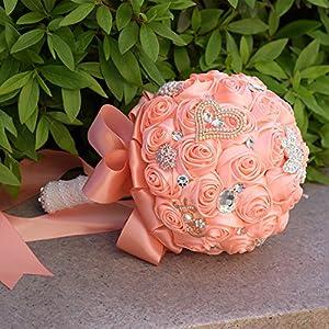 MOJUN Romantic Ribbon Rose Bridal Wedding Bouquets with Crystal Diamond Bride Bridemaides Hold Flower