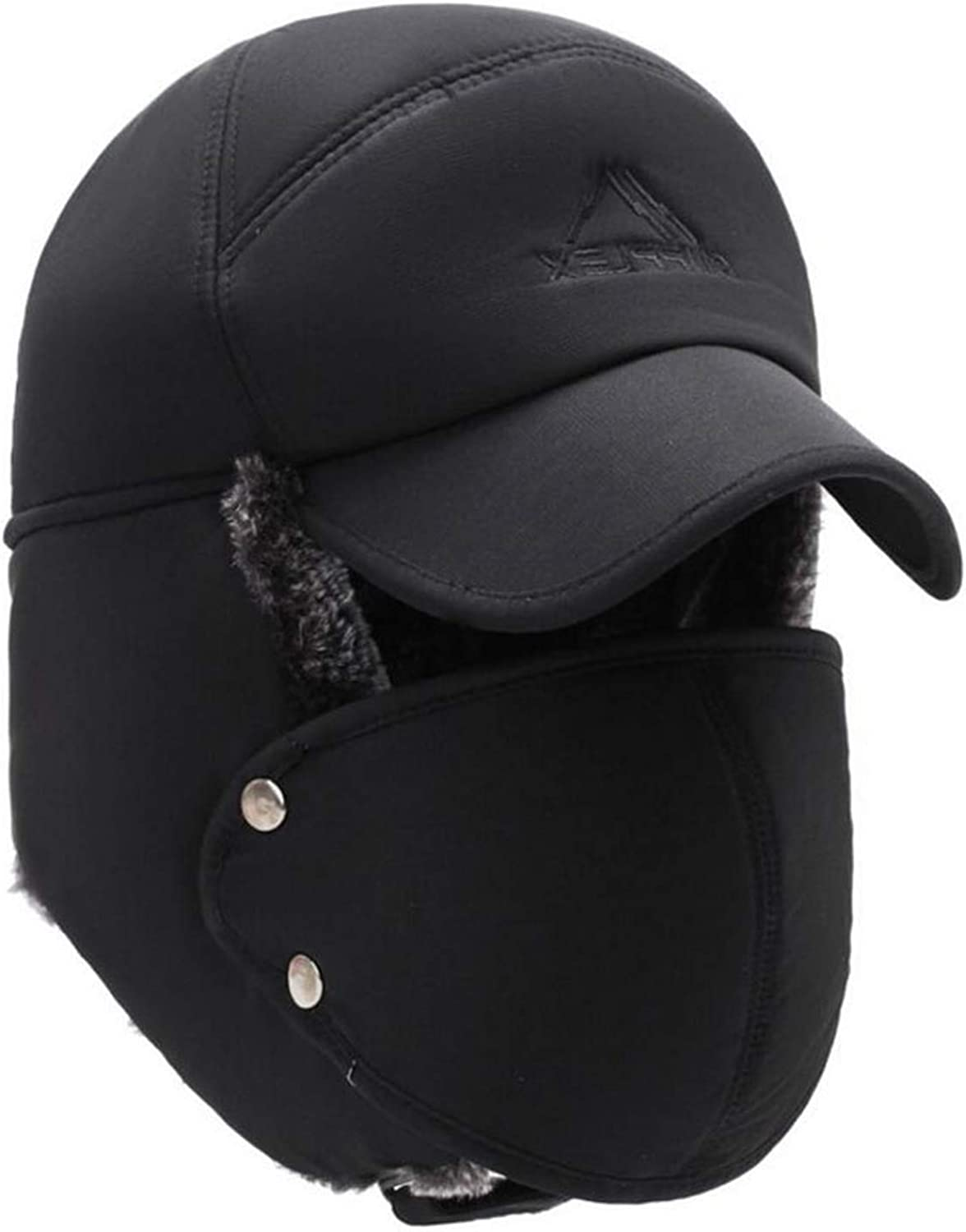Mens Winter Hats Ear Flaps Bomber Hats with Brim and Face Mask Warm Hat for Men Waterproof Ski Cap